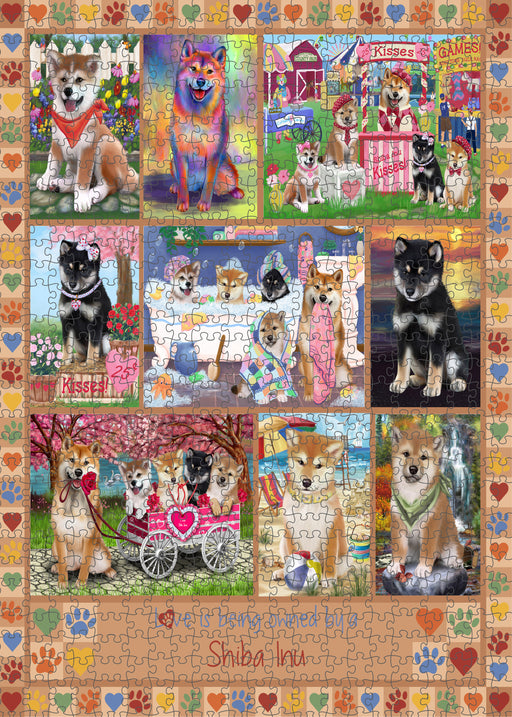 Love is Being Owned Shiba Inu Dog Beige Puzzle with Photo Tin PUZL98636