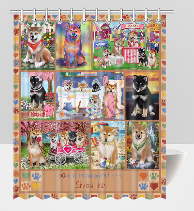 Love is Being Owned Shiba Inu Dog Beige Shower Curtain
