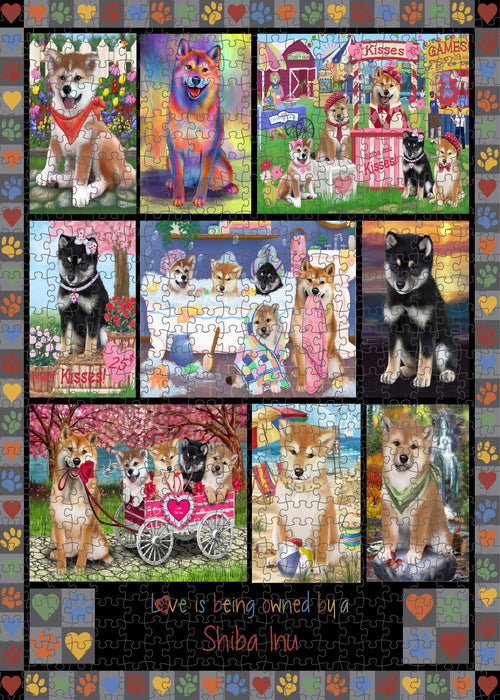 Love is Being Owned Shiba Inu Dog Grey Puzzle with Photo Tin PUZL98640