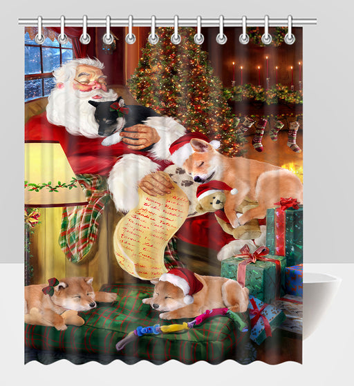 Santa Sleeping with Shiba Inu Dogs Shower Curtain