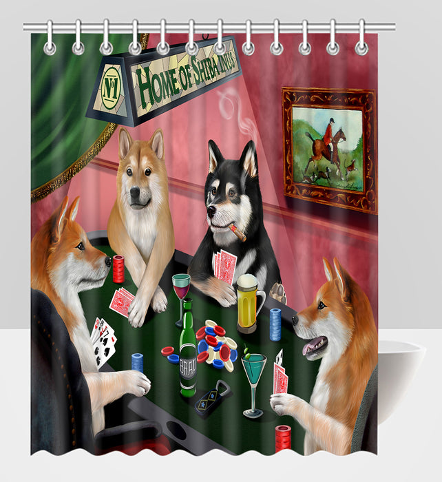 Home of  Shiba Inu Dogs Playing Poker Shower Curtain