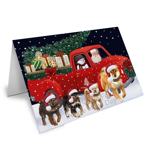 Christmas Express Delivery Red Truck Running Shiba Inu Dogs Note Card NCD75221