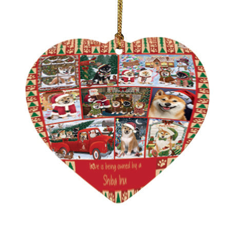 Love is Being Owned Christmas Shiba Inu Dogs Heart Christmas Ornament HPOR57883