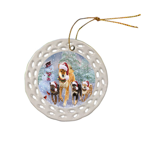 Christmas Running Family Shiba Inu Dogs Ceramic Doily Ornament DPOR57424