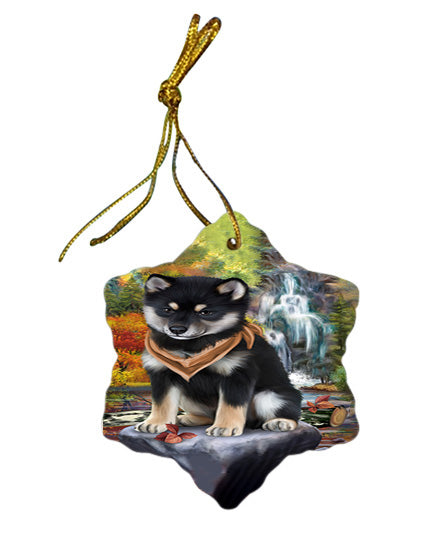 Scenic Waterfall Shiba Inu Dog Star Porcelain Ornament SPOR49533