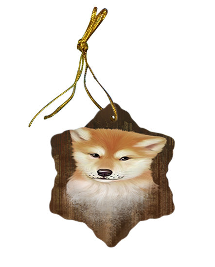 Rustic Shiba Inu Dog Star Porcelain Ornament SPOR50479