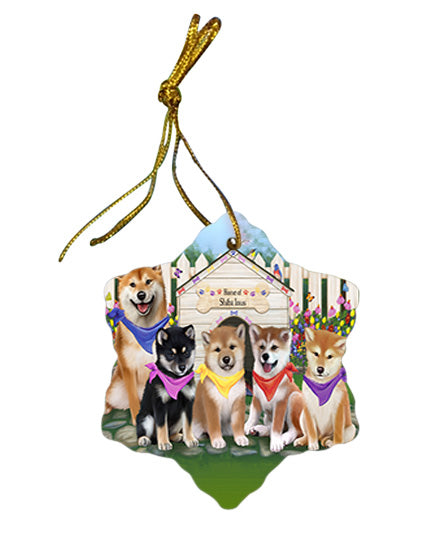 Spring Dog House Shiba Inus Dog Star Porcelain Ornament SPOR50123