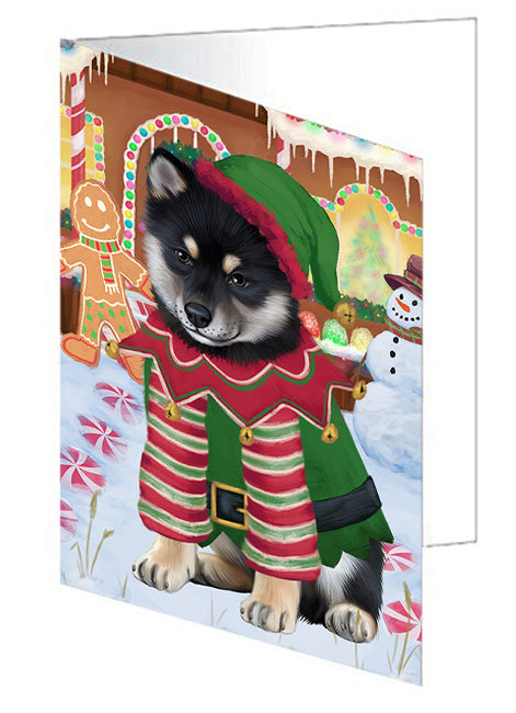 Christmas Gingerbread House Candyfest Shiba Inu Dog Note Card NCD74159