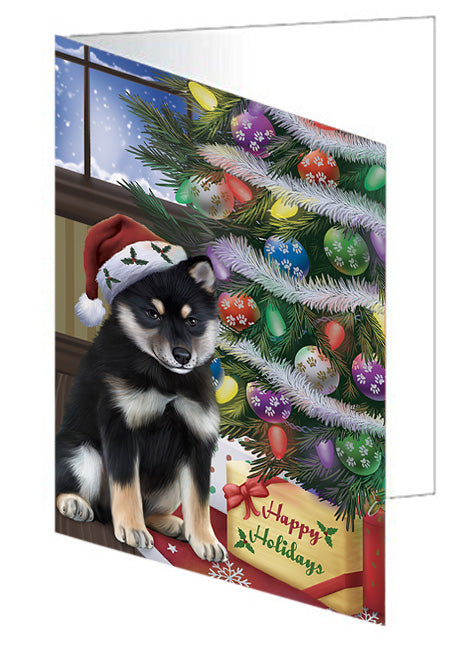 Christmas Happy Holidays Shiba Inu Dog with Tree and Presents Note Card NCD65609