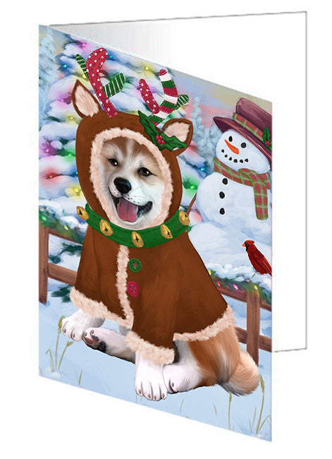 Christmas Gingerbread House Candyfest Shiba Inu Dog Note Card NCD74162
