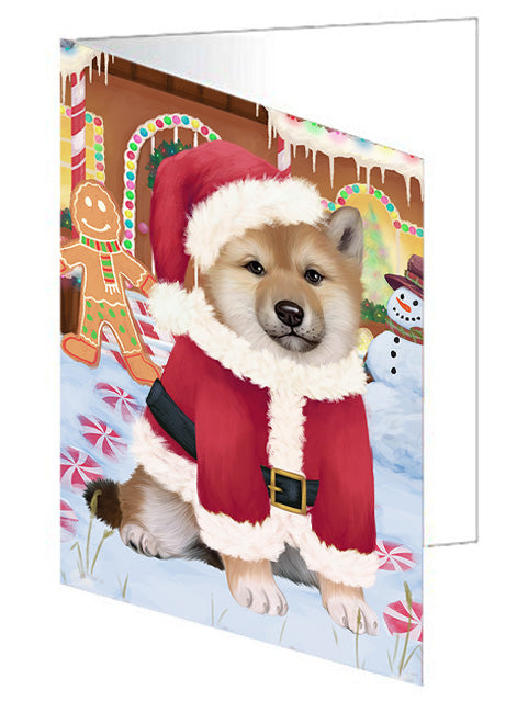Christmas Gingerbread House Candyfest Shiba Inu Dog Note Card NCD74165