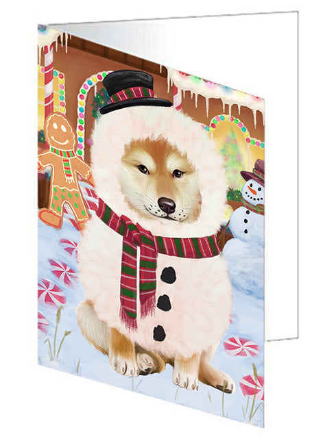 Christmas Gingerbread House Candyfest Shiba Inu Dog Note Card NCD74168