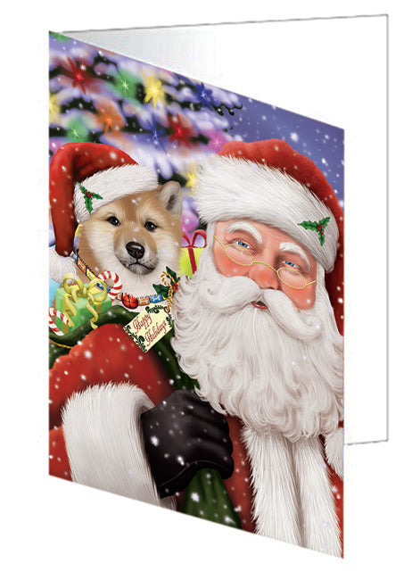 Santa Carrying Shiba Inu Dog and Christmas Presents Note Card NCD66086