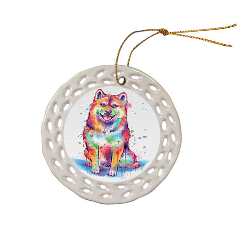 Watercolor Shiba Inu Dog Ceramic Doily Ornament DPOR57450