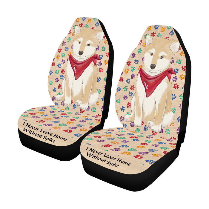 Personalized I Never Leave Home Paw Print Shiba Inu Dogs Pet Front Car Seat Cover (Set of 2)