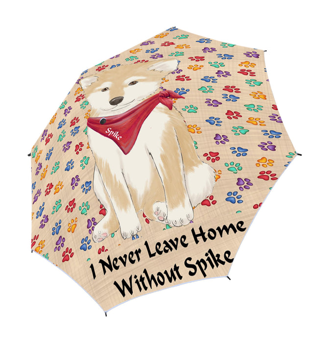 Custom Pet Name Personalized I never Leave Home Shiba Inu Dog Semi-Automatic Foldable Umbrella