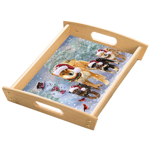 Christmas Running Family Shiba Inu Dogs Wood Serving Tray with Handles Natural TRA49860
