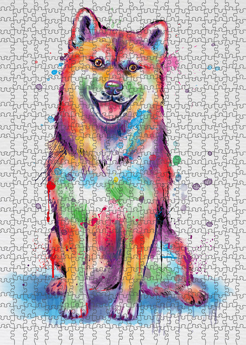 Watercolor Shiba Inu Dog Puzzle with Photo Tin PUZL97428