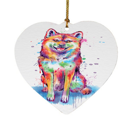Watercolor Shiba Inu Dog Heart Christmas Ornament HPOR57450