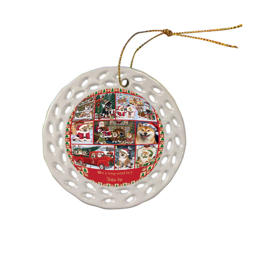 Love is Being Owned Christmas Shiba Inu Dogs Ceramic Doily Ornament DPOR57883