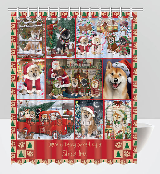 Love is Being Owned Christmas Shiba Inu Dogs Shower Curtain