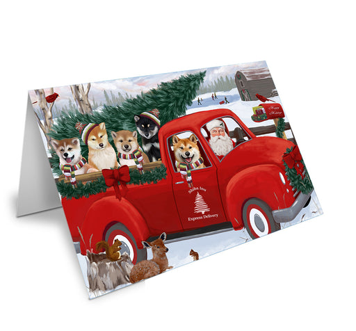 Christmas Santa Express Delivery Shiba Inus Dog Family Note Card NCD69035