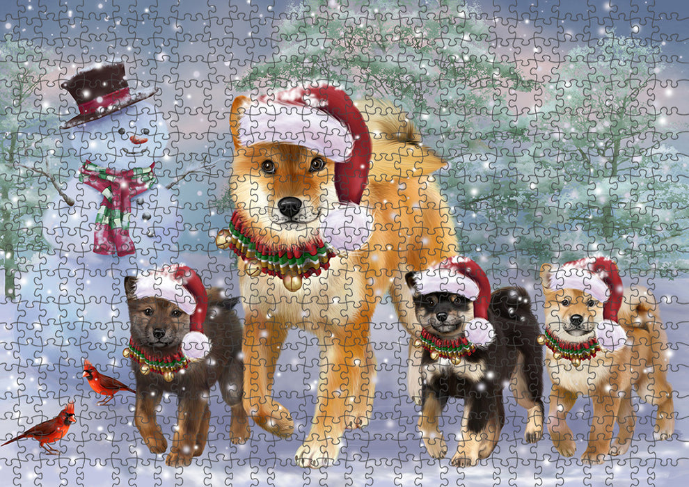 Christmas Running Family Shiba Inu Dogs Puzzle with Photo Tin PUZ97324