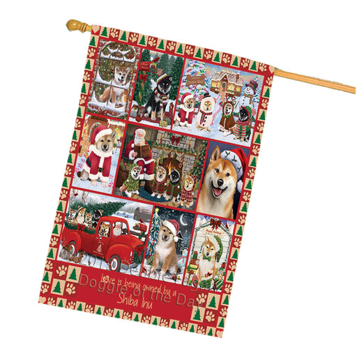 Love is Being Owned Christmas Shiba Inu Dogs House Flag FLG66095