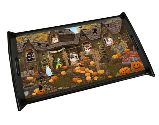 Haunted House Halloween Trick or Treat Shiba Inus Dog Wood Serving Tray TRP49141