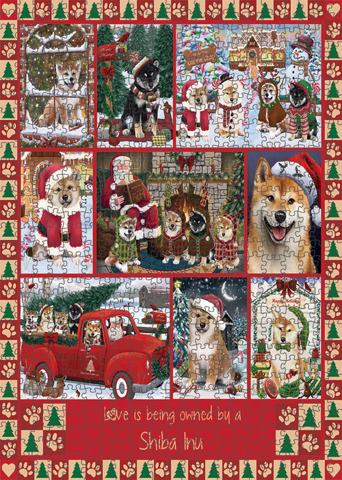Love is Being Owned Christmas Shiba Inu Dogs Puzzle with Photo Tin PUZL99500