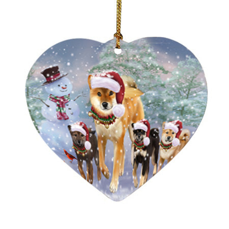 Christmas Running Family Shiba Inu Dogs Heart Christmas Ornament HPOR57424