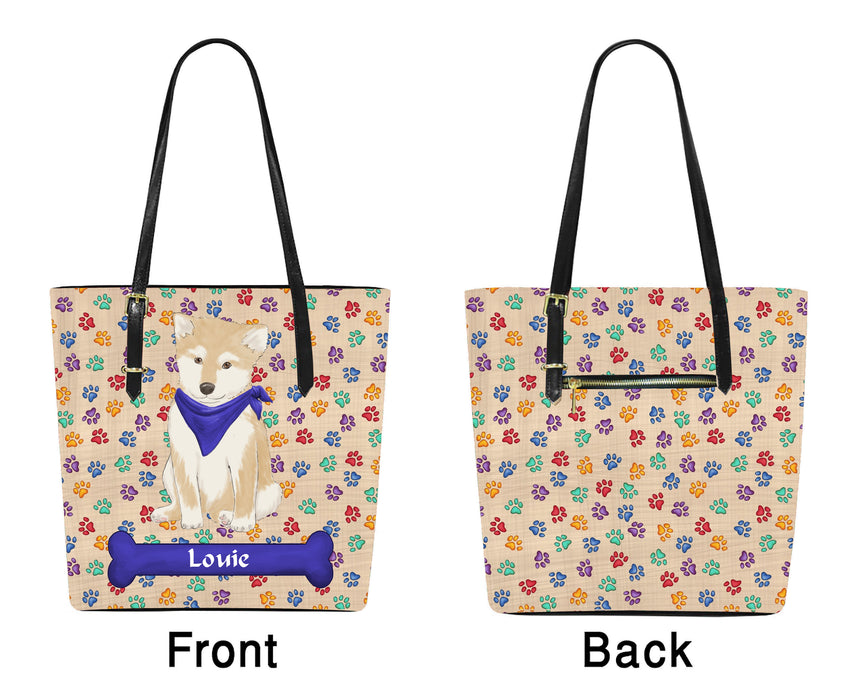 Custom Personalized Blue Paw Print Shiba Inu Dog Euramerican Tote Bag