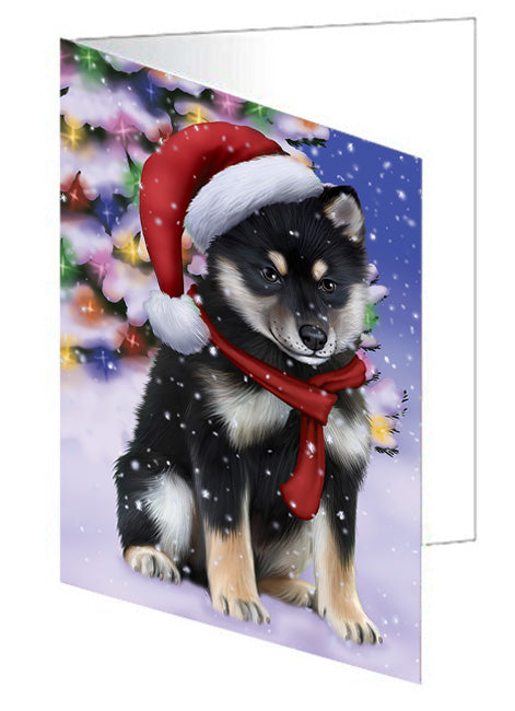 Winterland Wonderland Shiba Inu Dog In Christmas Holiday Scenic Background  Note Card NCD64292