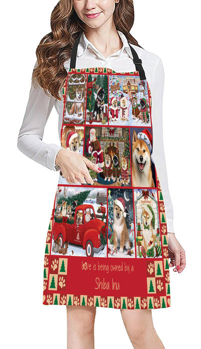 Love is Being Owned Christmas Shiba Inu Dogs Apron