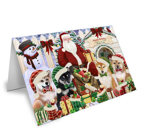 Happy Holidays Christmas Shiba Inus Dog House Gathering Note Card NCD58427
