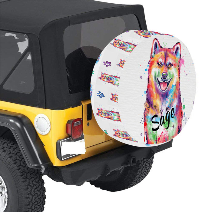 Custom Pet Name Personalized Watercolor Shiba Inu Dog Car Tire Cover