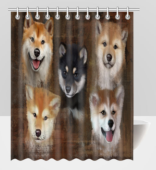 Rustic Shiba Inu Dogs Shower Curtain