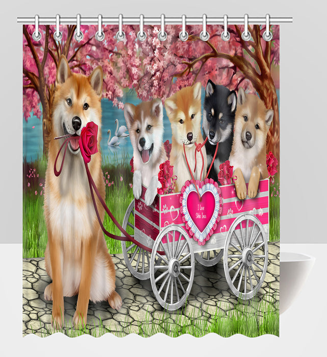 I Love Shiba Inu Dogs in a Cart Shower Curtain