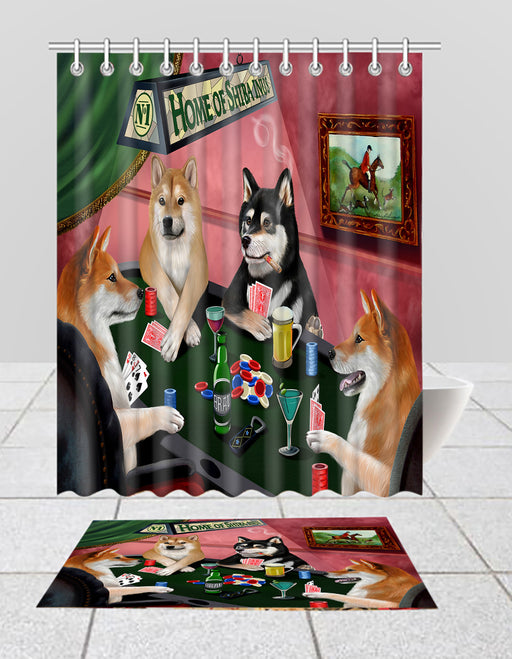 Home of  Shiba Inu Dogs Playing Poker Bath Mat and Shower Curtain Combo