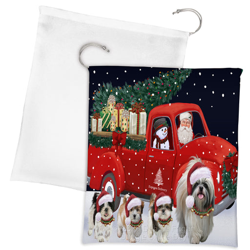 Christmas Express Delivery Red Truck Running Shih Tzu Dogs Drawstring Laundry or Gift Bag LGB48930