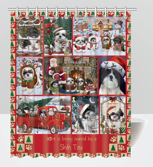 Love is Being Owned Christmas Shih Tzu Dogs Shower Curtain