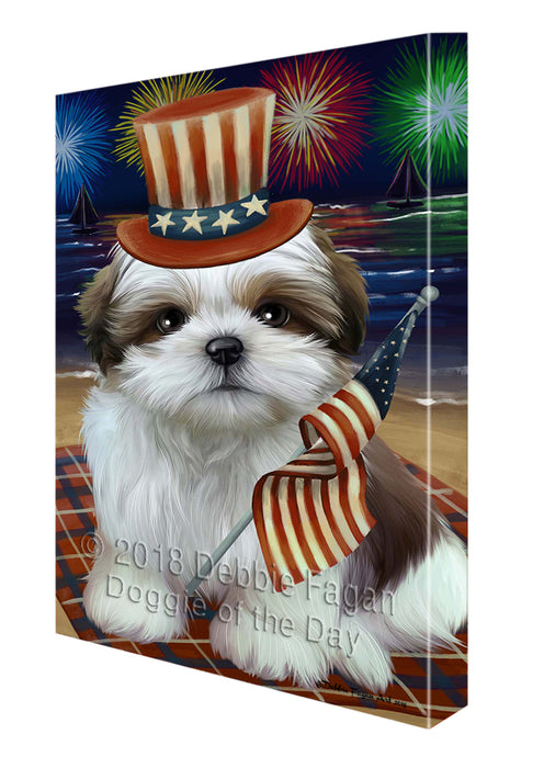 4th of July Independence Day Firework Shih Tzu Dog Canvas Wall Art CVS56757
