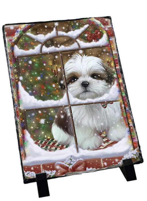 Please Come Home For Christmas Shih Tzu Dog Sitting In Window Sitting Photo Slate SLT57565