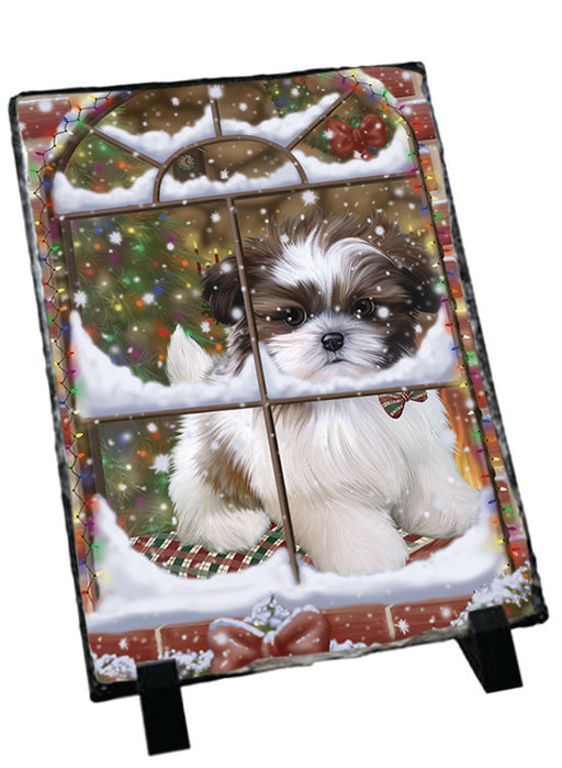 Please Come Home For Christmas Shih Tzu Dog Sitting In Window Sitting Photo Slate SLT57566