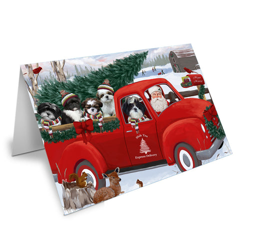 Christmas Santa Express Delivery Shih Tzus Dog Family Note Card NCD69038