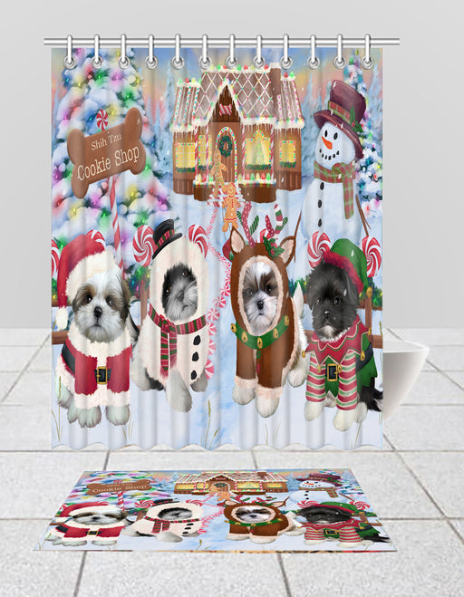 Holiday Gingerbread Cookie Shih Tzu Dogs  Bath Mat and Shower Curtain Combo