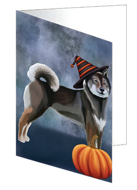Happy Halloween Shikoku Dog Wearing Witch Hat with Pumpkin Note Card NCD68810