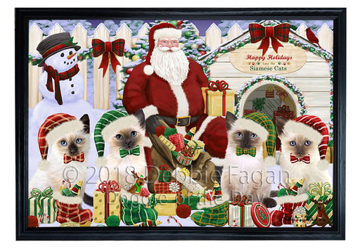 Christmas Dog House Siamese Cats Framed Canvas Print Wall Art FCVS126353