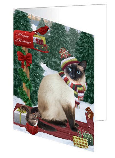 Merry Christmas Woodland Sled Siamese Cat Note Card NCD69641