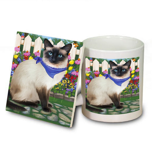 Spring Floral Siamese Cat Mug and Coaster Set MUC52213